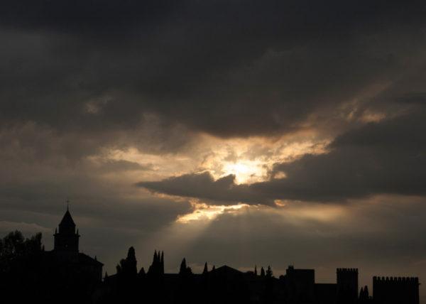 Silueta puesta de sol alhambra