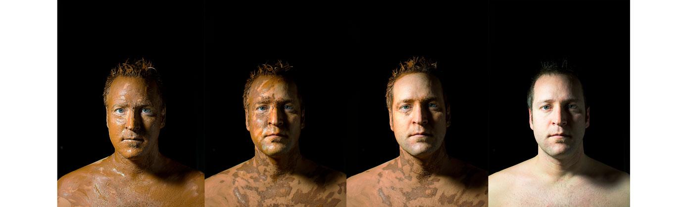 Hombre de barro, serie de fotografías donde va desapareciendo el barro de la cara de un personaje.